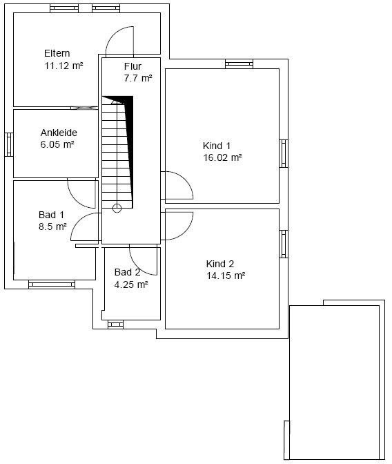 Bakken Grundriss Obergeschoss